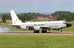 The first RC-135W Rivet Joint flight in RAF service.